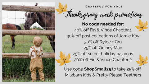 Small Business Black Friday Cyber Monday Giving TUESDAY sale at Barn Chic Boutique 2020 Fin & Vince Rylee + Cru Quincy Mae Jamie Kay Milkbarn Kids