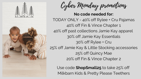 Cyber Monday and Giving Tuesday discounts at Barn Chic Boutique - 40% off Rylee + Cru pajamas today only, Jamie Kay accessories 25% off