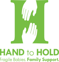 Hand to Hold logo - green H with two hands reaching out to each other, reading: Hand to Hold Fragile Babies, Family Support