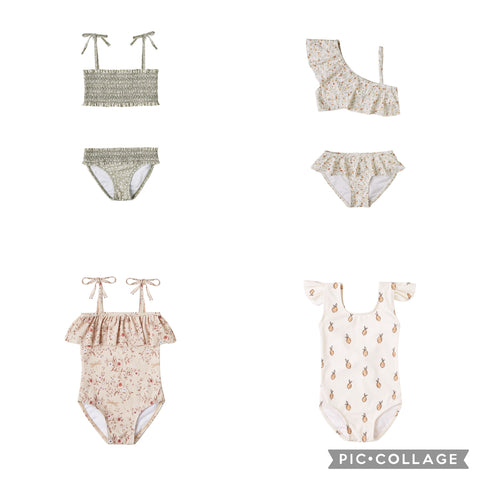 Rylee + Cru Resort Spring 2021 Collection: Product images for girls swim suits and rash guards