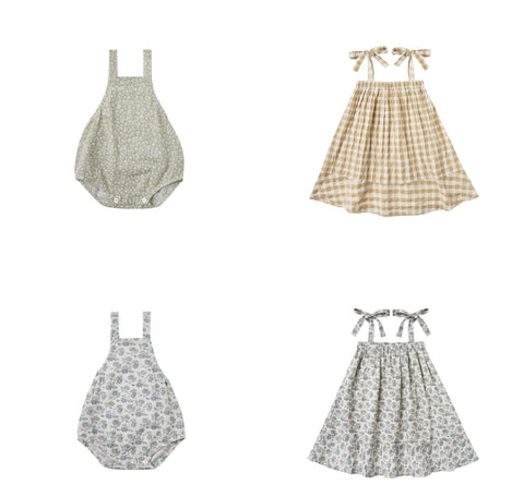 Rylee + Cru Resort Spring Summer 2021 Product Images should tie dresses and Norah bubble rompers