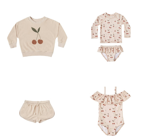 Rylee + Cru Resort Spring Summer 2021 Product Images Cherry Sweatshirt, track shorts, one piece swimsuit and two piece rash guard swim
