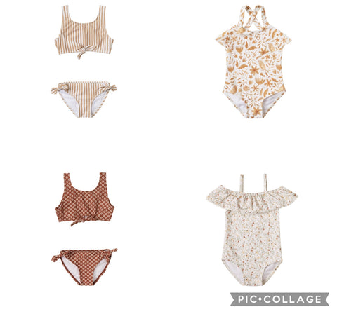 Rylee + Cru Resort Spring Summer 2021 Product Images two piece knotted bikinis, garden bird one piece and ruffle swim suits for baby and toddler girls