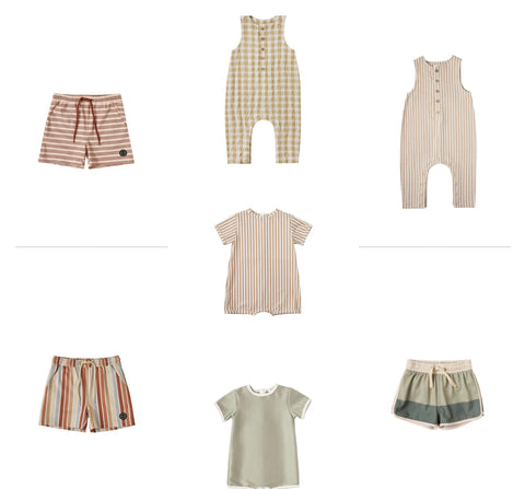 Rylee + Cru Resort Spring Summer 2021 Product Images toddler and baby boys swim trunks rash guards shorty one piece suits