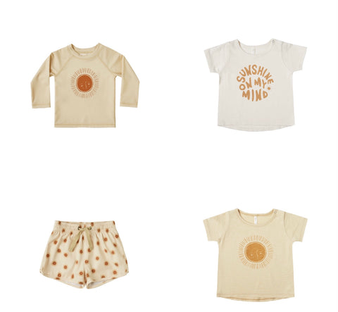 Rylee + Cru Resort Spring Summer 2021 Product Images Sun rash guard basic tee trunks for toddler and baby