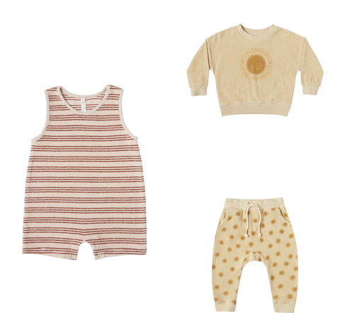 Rylee + Cru Resort Spring Summer 2021 Product Images One piece romper striped sun sweatshirt and sweatpants for baby toddler and child