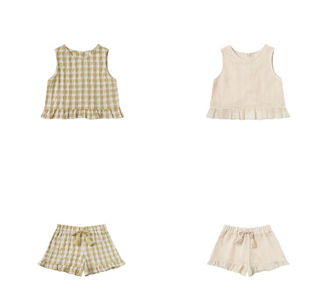 Rylee + Cru Resort Spring Summer 2021 Product Images Leonie ruffle sleeveless top and cardiff ruffle shorts