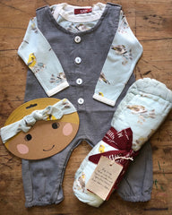 MIlkbarn Kids Blue Bird Big Lovey Headband Long Sleeve One Piece Stone Grey Little Maple Baby Romper