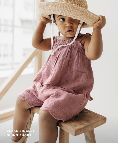 Toddler in Jamie Kay Flourish Collection Quinn short and Blakely top in Prague