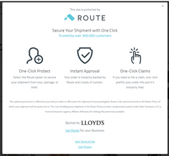 Route Shipping Insurance by Lloyd's of London for Barn Chic Boutique