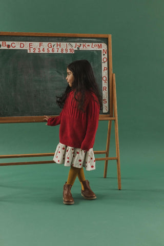 Fin & Vince Heirloom Sweater in Crimson - girl standing in front of a vintage chalkboard with sweater over the apple dress from Chapter 1 of the Autumn Fields Collection 2020
