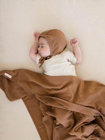 Pointelle Organic Cotton Baby Blanket Bonnet Kimono Onesie Copper Quincy Mae 19
