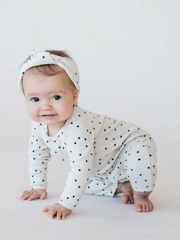 Quincy Mae Organic Cotton Turban Pebble Long Sleeve Onesie Legging