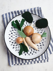 Milton and Goose play food veggie set - plated with striped napkin under for children's imaginative play. Non-toxic solid wood no VOC and made in the USA toys for children