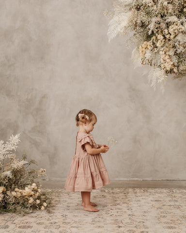 Noralee Dress for toddlers, babies, and little girls - baby wearing Goldie dress in dusty rose