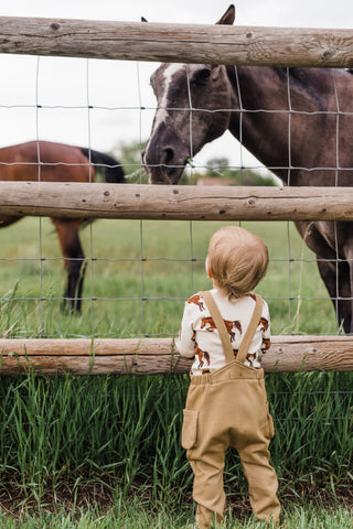 Toddler looking at horse wearing MilkBarn Kids Natural Horse organic cotton one piece and overall in rust.