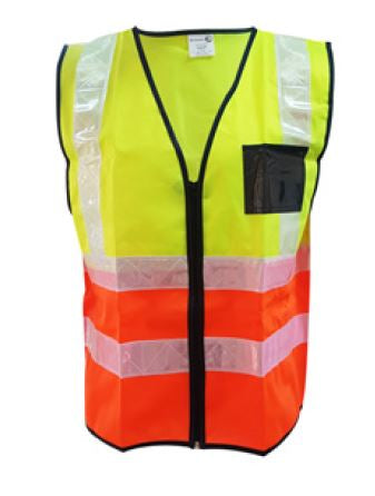 2TONE LIME/ORANGE REFLECTIVE SLEEVELESS WAIST JACKET, WHITE PVC TAPE SA-2T