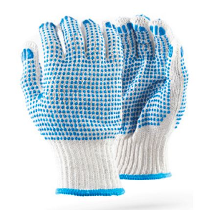 COTTON SEAMLESS GLOVES - D/DOT BLUE 7GG