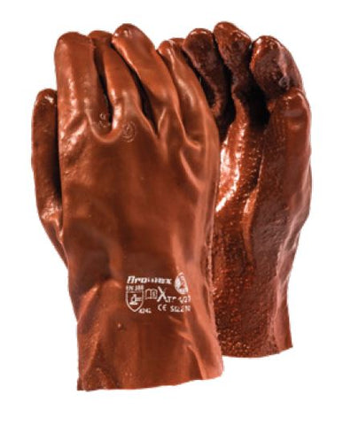 EXTRA HEAVY DUTY ROUGH TERRY BROWN PVC RANGE GLOVES - XTRA/27