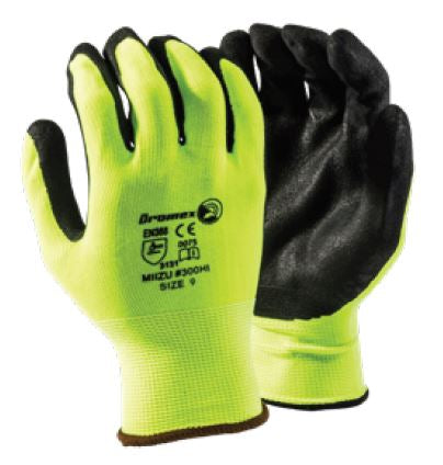 HI-VIZ RUBBER LATEX COATED GLOVES - MIIZU 300