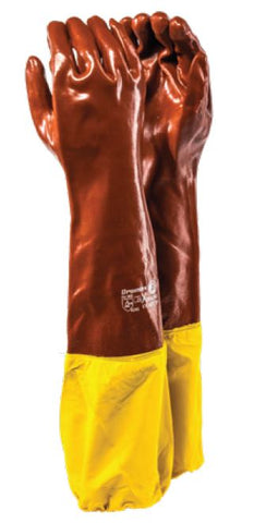 YELLOW GUARD HEAVY DUTY ROUGH TERRY BROWN PVC RANGE GLOVES - XTRA/60