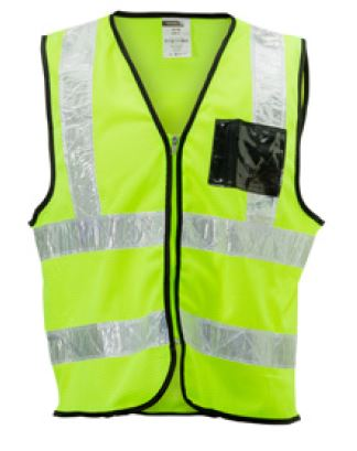 LIME MESH REFLECTIVE SLEEVELESS WAIST JACKET - 130g KNIT, ID, WHITE PVC TAPE SA7B2
