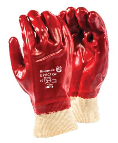 STANDARD SMOOTH RED PVC RANGE GLOVES - GPVC/KW