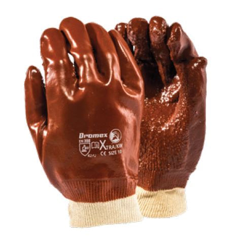 XTRA HEAVY DUTY ROUGH TERRY BROWN PVC RANGE GLOVES - XTRA/KW