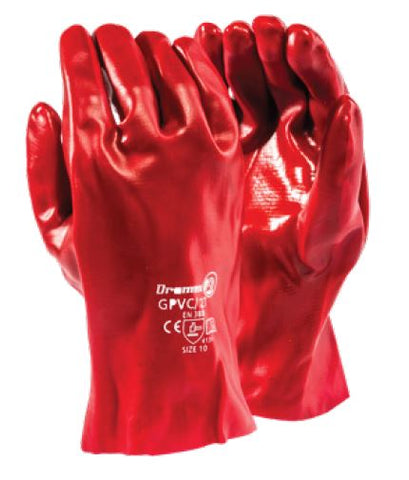 STANDARD SMOOTH RED PVC RANGE GLOVES - GPVC/27