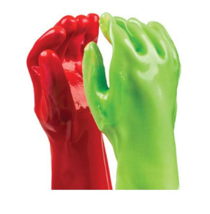 HEAVY DUTY PVC HI-VIZ RED/GREEN WRIST GLOVES