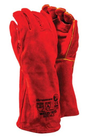 DROMEX PREMIUM RED HEAT GLOVES - WELD/RED