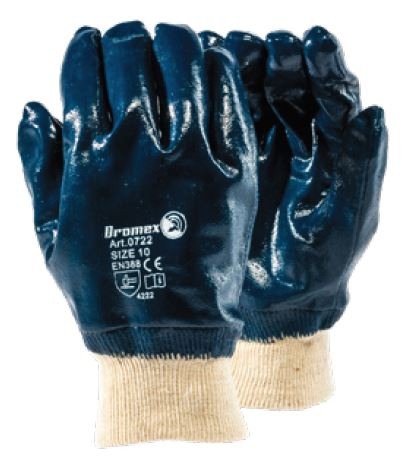 BLUE KNITTED WRIST NITRILE GLOVES - 0722/10