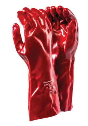 STANDARD SMOOTH RED PVC RANGE GLOVES - GPVC/35