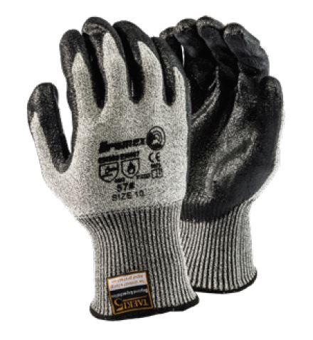 TAEKI5 BLACK NITRILE PALM DIPPED GLOVES - #57