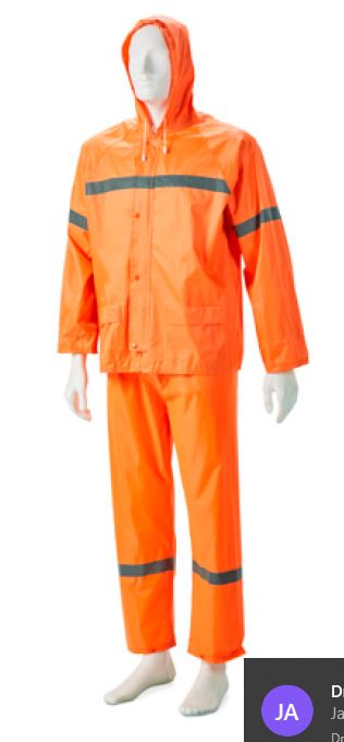 RUBBERISED RAIN SUIT ORANGE REFLECTIVE