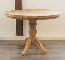 Load image into Gallery viewer, Round Reclaimed Teak Dining Set with 4 Whitewash Kubu Chairs