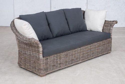 SALE - Wicker Sofa 3 Seater 'Elegant' - Grey Linen