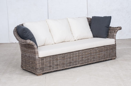 SALE - Wicker Sofa 3 Seater 'Elegant' - White Linen