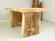 Load image into Gallery viewer, 150cm Suar live edge dining table with pedestal style legs, side view.