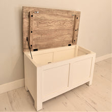 Load image into Gallery viewer, Reclaimed pine Bude range blanket box, top open.