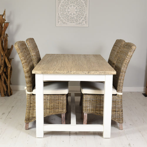 160cm Cottage Dining Set with 4 Natural Kubu Chairs