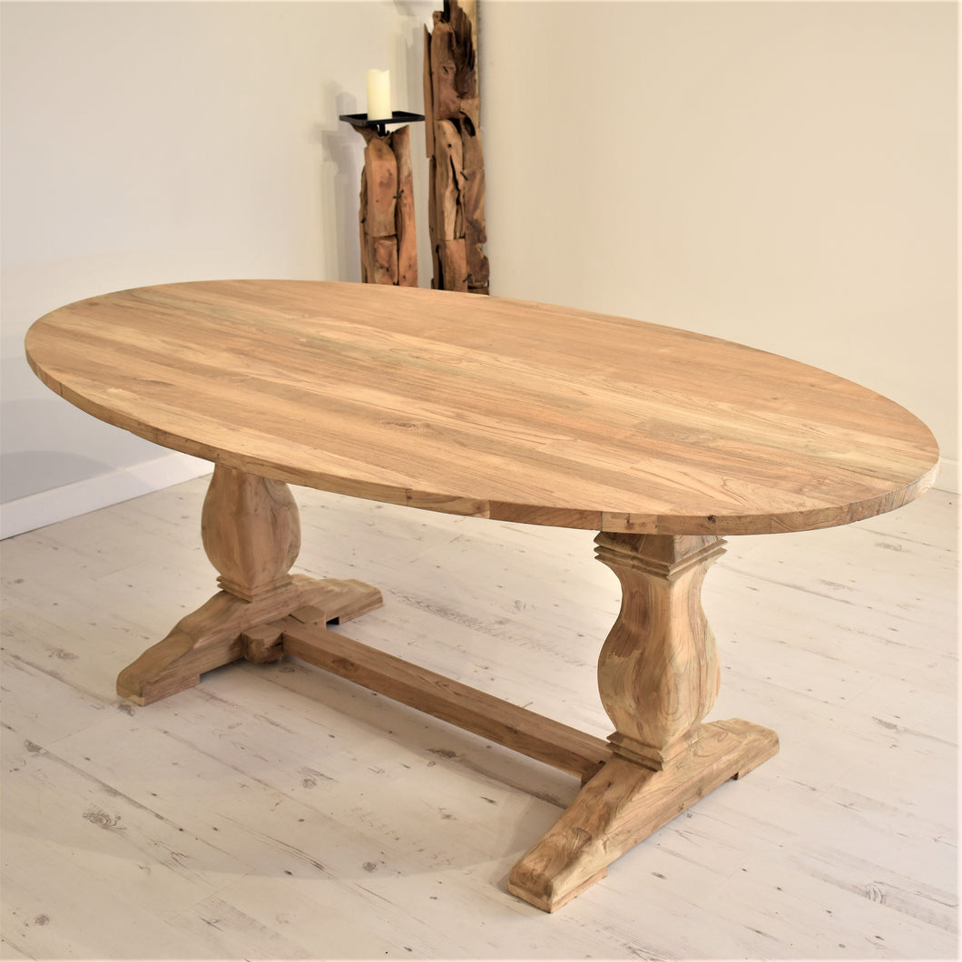 Reclaimed Teak Dining Table Oval - 200cm