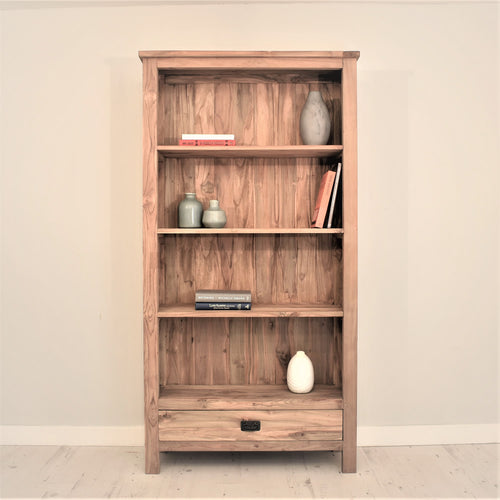 Reclaimed teak tall bookcase with 1 drawer.