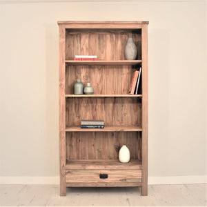 Reclaimed Teak Tall Bookcase with 1 Drawer