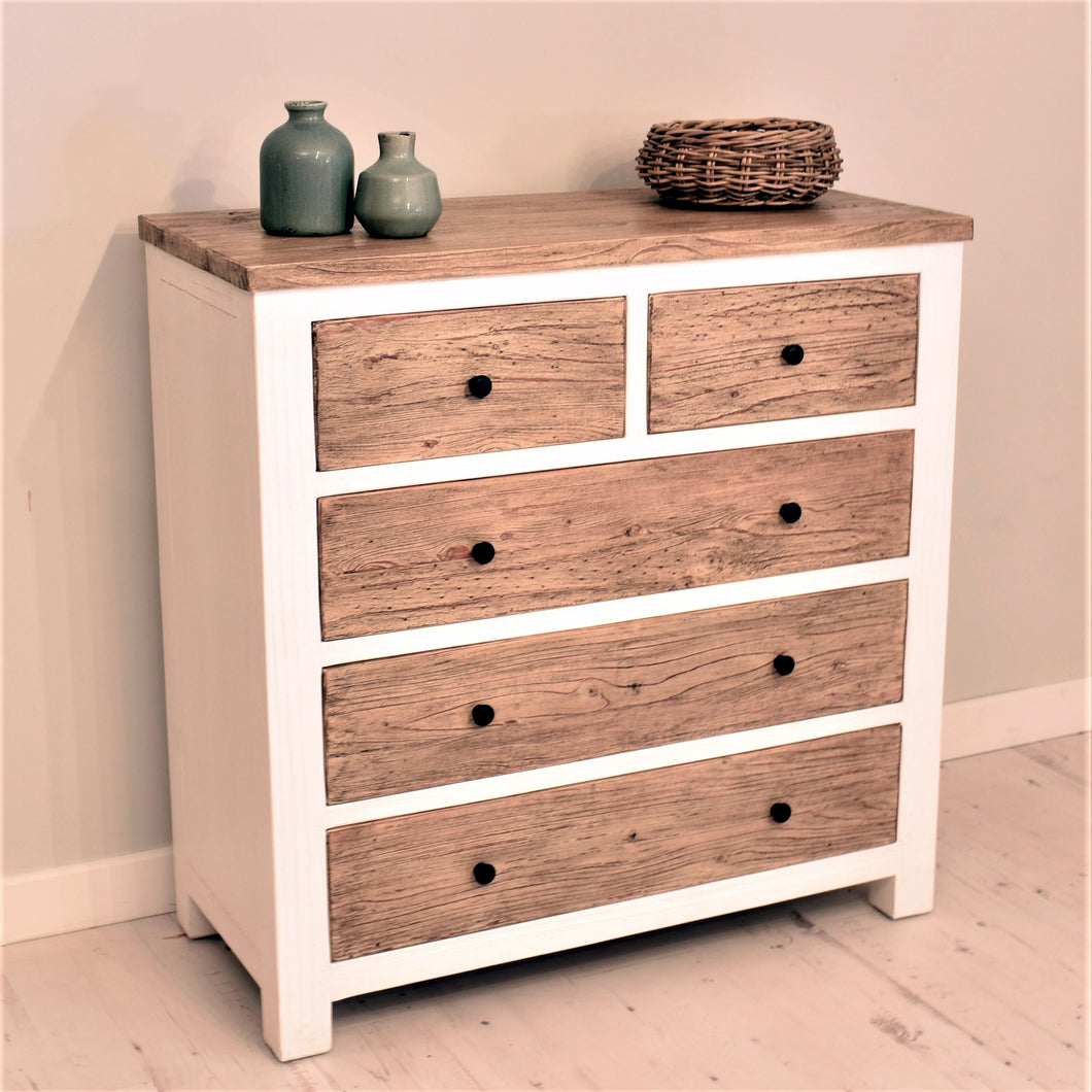 Reclaimed Pine Bude Range Chest of Drawers with 5 Drawers