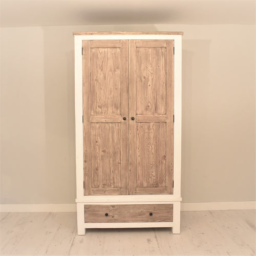 Reclaimed Pine Bude Range Double Wardrobe with 1 Drawer