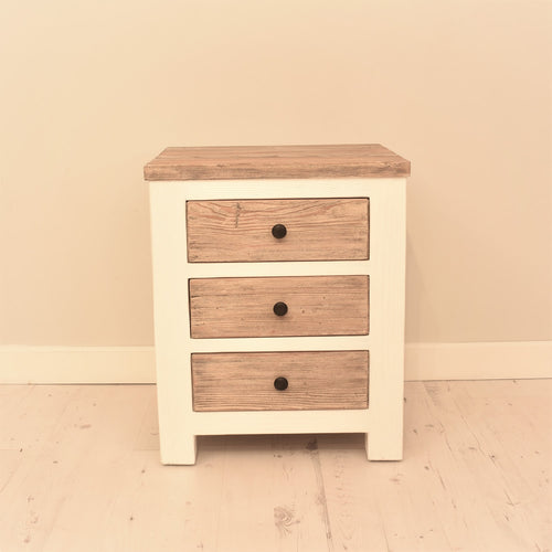 Reclaimed pine Bude range bedside table with 3 drawers.