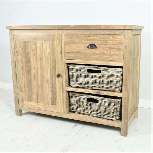 Reclaimed teak small sideboard, 1 drawer, 1 door, 2 baskets.