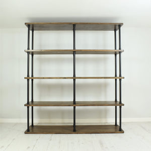 Vintage industrial style shelving unit 180cm wide.