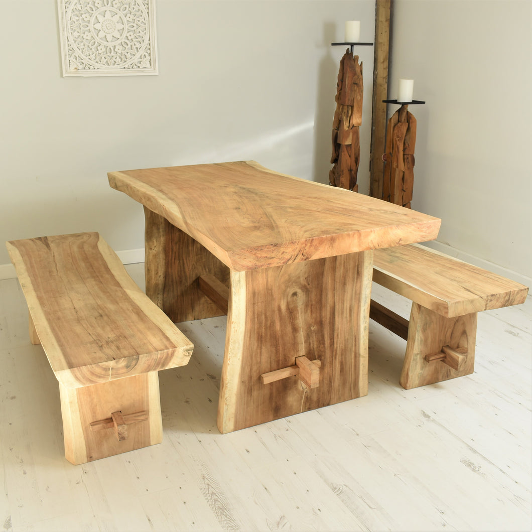 150cm Suar live edge dining set with benches, seats 4.